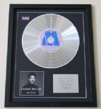 LIONEL RICHIE - Back To Front CD / PLATINUM PRESENTATION DISC